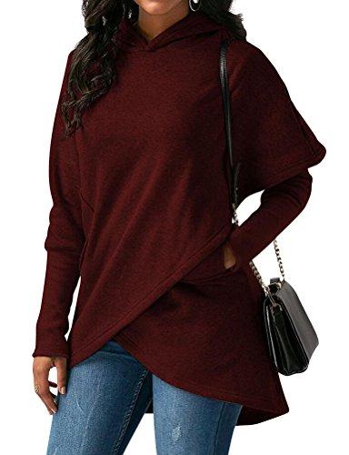 ZXH Women Solid Color Long Sleeve Asymmetric Hem Hoodies Sweatshirt with Pocket