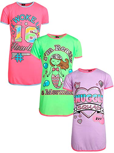Angel Face Girls Short Sleeve Nightgowns Pajama - 3 Pack, Snuggle Squad, Size 8']()