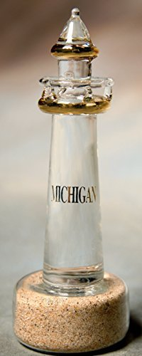 LAKE MICHIGAN (3 OF 5) COMMEMORATIVE GREAT LAKES LIGHTHOUSES W/ ACTUAL SAND ENCLOSED WITHIN IT'S BASE & TRIMMED WITH 22K GOLD, INCLUDING THE GREAT LAKES NAME