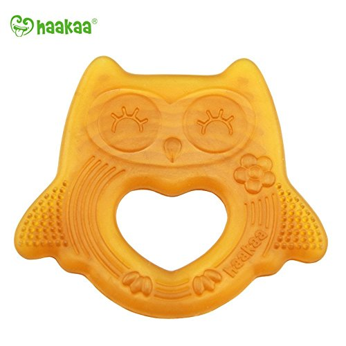 Haakaa Natural Owl Smiling Teether 100% Natural Malaysia Allergen Free Baby Teether ()