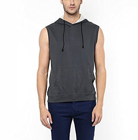 AMERICAN CREW Men's Sleeveless Dark Grey Hoodie - XL (AC1219-XL)