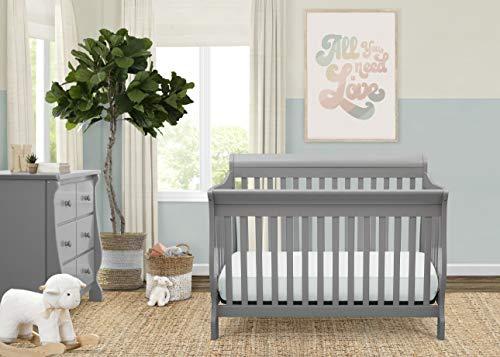 410l 0JmHnL - Delta Children Canton 4-in-1 Convertible Crib - Easy To Assemble, Grey