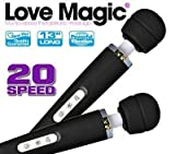 Wand Massager - Love Magic 20 Speed Plug-in Full Body Massage Wand Powerful Motor Therapeutic - Electric Handheld Massager for Muscle Aches and Sports Recovery