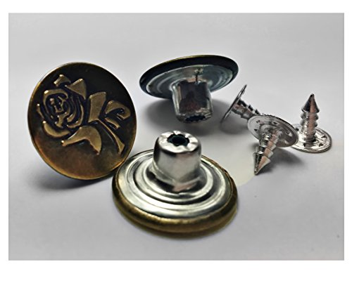 ALL in ONE 10 Sets Vintage Brass Jeans Button Replacement Suspender Button (17MM ()