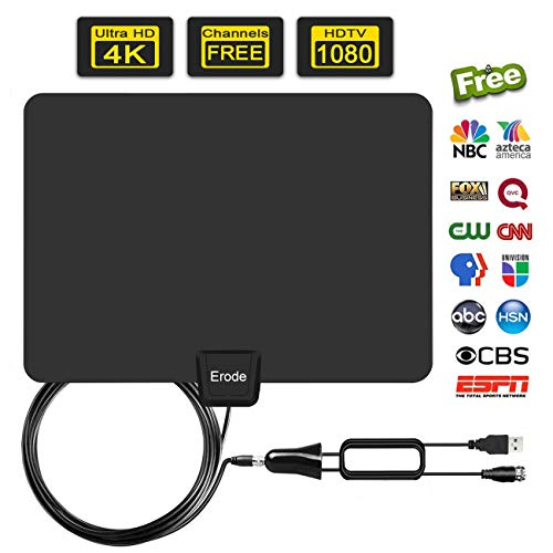 Digital Amplified Indoor HD TV Antenna 50-100 Miles Range, Amplifier Signal Booster Support 4K 1080P UHF VHF Freeview HDTV Channels-[Upgraded 2019]
