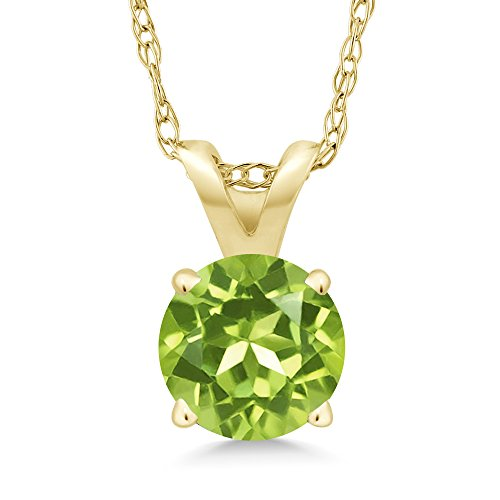 Gem Stone King 0.50 Ct Round Green Peridot 14K Yellow Gold Pendant With Chain
