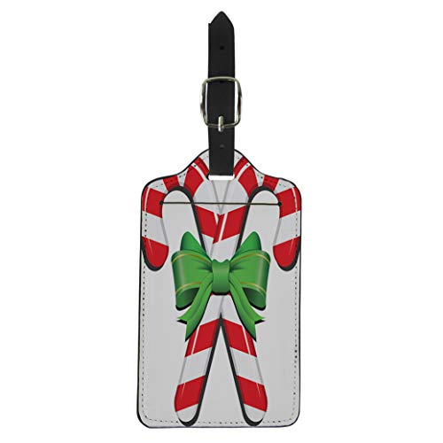 Pinbeam Luggage Tag Green Bow Realistic Candy Cane Ribbon Red Holly Suitcase Baggage ()
