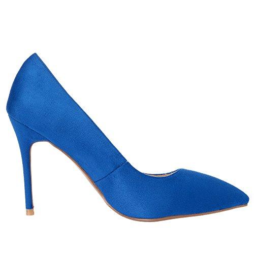 Classic Pelle Chiuso Tacco Punta Donna Sexy a Pollici 4 Stilettos MAYPIE Blu Spillo a Scamosciata Dress 1HWEBqHx