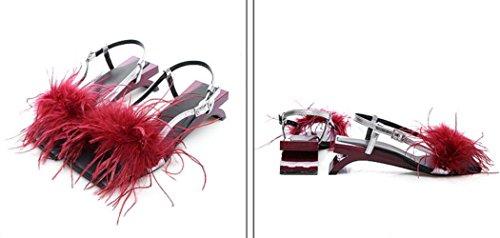 Ouvert Red Pour Sandales En Femmes Cuir à MUYII Sandales Bout xZRwAq6qv