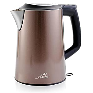 Stainless Steel Electric Kettle (Cordless) w/ 100% Plastic-Free Interior | Insulated Double Walls | Electronic Hot Water Heater Pot with Cool Touch, Boil Dry Protection & More (1.9Qrt/1.8L)(GreyBrown)