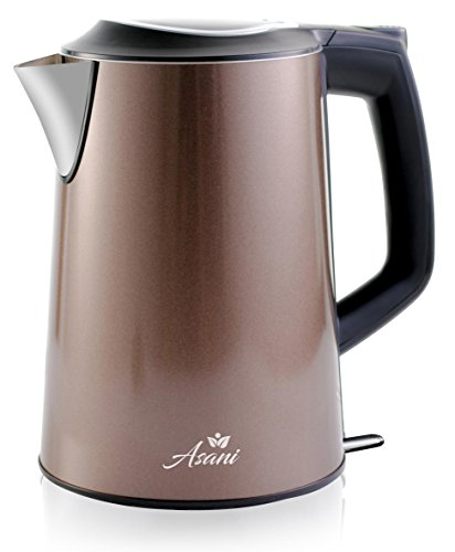 Double Wall Safe Touch Electric Kettle | Stainless Steel with 100% Plastic-Free Interior | Cordless Electronic Hot Water Heater Pot with Cool Touch, Boil Dry Protection & More (1.9 Quart/1.8L) (Grey) Countertop Double Stage Filter