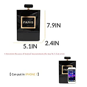 Milisente Women Black Acrylic Evening Bag Perfume Bottle Paris Shape Clutches Purse