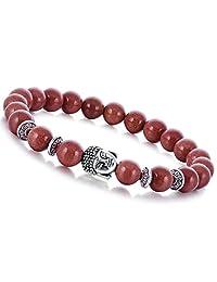 Joya Gift Natural Gemstone 8MM Round Beads Buddha Bead Gemstone Chakra Bracelet for Women Charms Men Jewelry