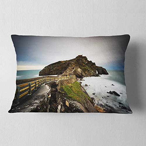 Designart CU9476-12-20 Path to Cape and Chapel in Spain' Seashore Photo Throw Lumbar Cushion Pillow Cover for Living Room, Sofa, 12 in. x 20 in, Pillow Insert + Cushion Cover Printed on Both Side by Designart