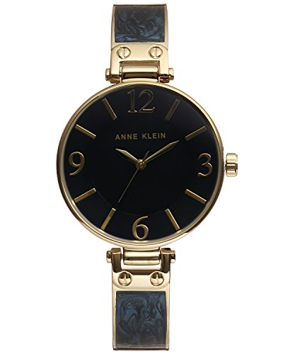 Anne Klein Women's AK/2210NMGB Gold-Tone and Navy Blue Marbleized Bangle ()