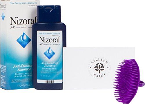 Price comparison product image Nizoral A-D Anti-Dandruff Shampoo and Scalpmaster Shampoo Brush - LP Bundle (4 Fluid Ounce, Purple Brush)