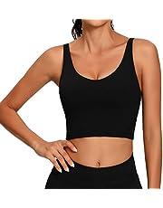 Lemedy Vrouwen Sport BH Longline Crop Tank Top Gewatteerde Workout Running Yoga