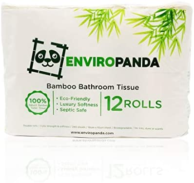 EnviroPanda Unbleached Bamboo Toilet Paper Rolls | 3 Ply Soft All Natural Sustainable Tree Free Bathroom Tissue | Eco Friendly & Biodegradable | Septic Safe & 100% Natural Hypoallergenic TP | 12 Rolls