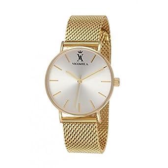 VICOMTE A. Herren Armbanduhr mit gelblichem und Maschen MailÄnder Gold – VA 020-1FM – Geschenk ideal