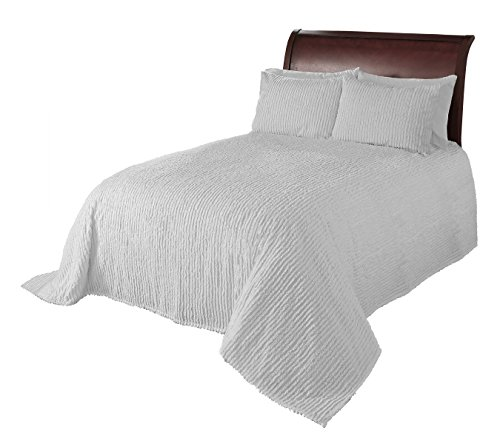 Beatrice Home Fashions Channel Chenille Pillow Sham, Standard, White