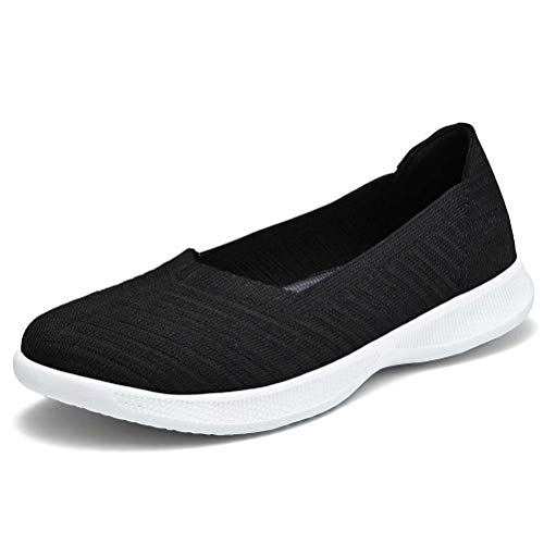 konhill Women's Walking Shoes - Slip on Nursing Work Flat 6 US Black,37