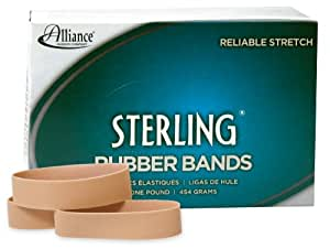 "Alliance Rubber 24945 Sterling Rubber Bands Size #94, 1 lb Box Contains Approx. 140 Bands (3 1/2"" x 3/4"", Natural Crepe)"