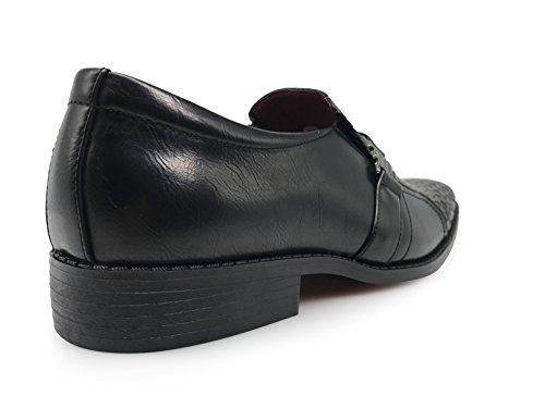 Enzo Romeo Gator05 Para Hombre, Italia, Negocios, Tejido, Tejido, Cuero, Mocasines, Con, Hebilla, Resbalón, En, Estilo, Zapatos, Negro