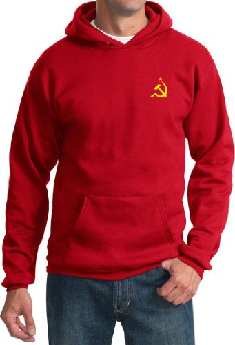 (Soviet Hoodie Hammer and Sickle Yellow Logo Pocket Print Hoody (2XL, Red))
