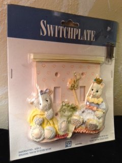 ''Friends Forever'' Wall Decorative SWITCHPLATE: Handpainted Ceramic Kitten & Lamb Figurines [2-GANG]