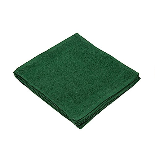 Linteum Textile (12-Pack, 12x12 in, Hunter Green) WASHCLOTHS Face Towels, 100% Soft Cotton