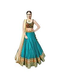 Woman Style Women's Banglory Silk Turquoise Lehenga Choli