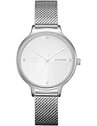 SHENGKE SK Noble Fashion Quartz Watches for Women with Stainless Steel Mesh Belt (Silver)