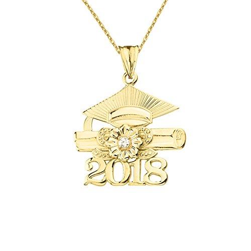 Dazzling 10k Yellow Gold Diamond Class of 2018 Graduation Charm Pendant Necklace, 16