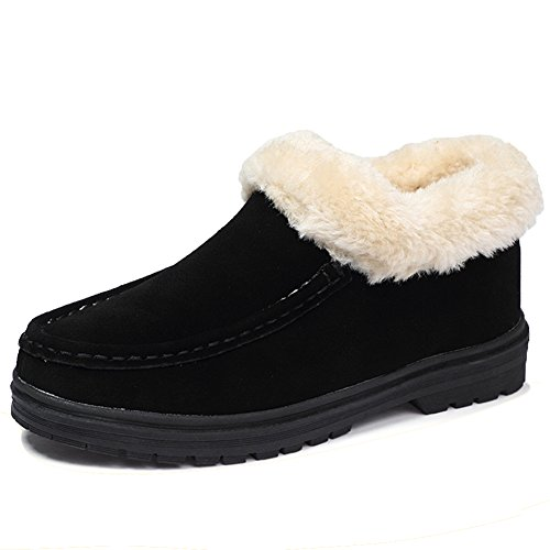 HKR-JJY589heise40 Women Faux Fur House Moccasins Slippers Booties Winter Suede Ankle Boots Indoor Outdoor Black 8 B(M) - Boots Slipper Fur