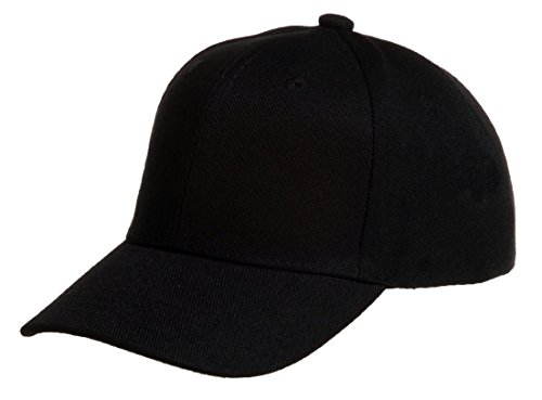 Quality Merchandise QML Plain Baseball Cap Blank Solid Color Velcro Adjustable (30 Colors) (Black) - Back Structured Cap