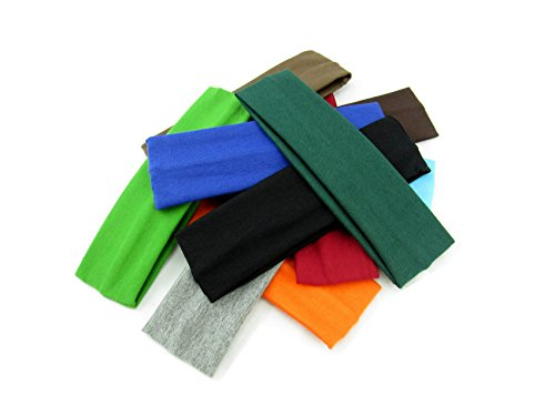 Styla Hair Yoga Headbands (10 Pack) Soft Stretchy Elastic Cotton Multi-Function Sports Hair Band Wraps (Variety - Neutral)