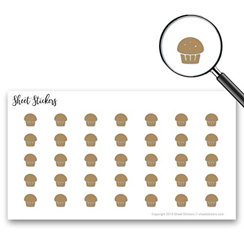 Muffin Coffee Dessert Cupcake Cup-Cake, Sticker Sheet 88 Bullet Stickers for Journal Planner Scrapbooks Bujo and Crafts, Item 126482