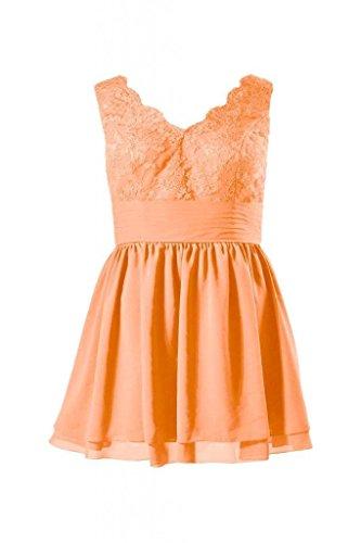 Daisyformals Courte Taille Plus Dentelle Robe De Bal Robe De Retour À La Maison V-cou (bm29035p) # 22 Orange