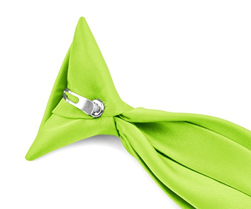 Moda Di Raza - Boy's NeckTie Solid Clip on Polyester Tie - Hot Lime/11