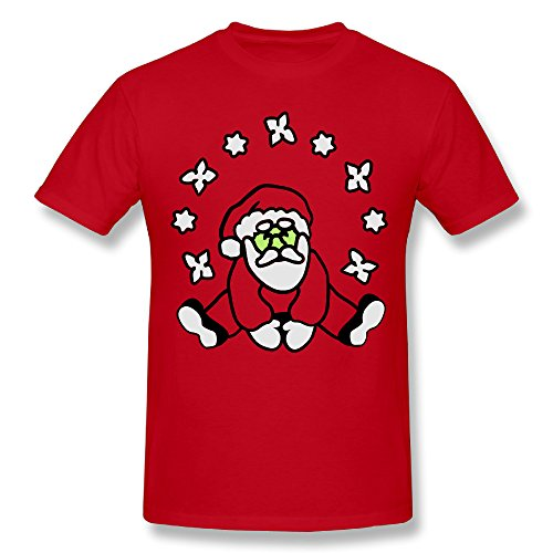 Hontiano Personalized Santa Claus T-Shirt Mens Casual Pre-shrunk Contemporary Fit by Hontiano