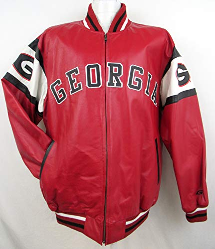 Mens Georgia Bulldogs Full Leather Zip Up Jacket with Embroidered Graphics, Size Large