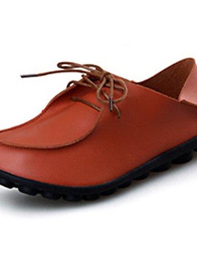 ZQ Zapatos de mujer-Tacón Plano-Confort-Oxfords-Casual-PU-Negro / Marrón / Rojo , brown-us7.5 / eu38 / uk5.5 / cn38 , brown-us7.5 / eu38 / uk5.5 / cn38 red-us7.5 / eu38 / uk5.5 / cn38