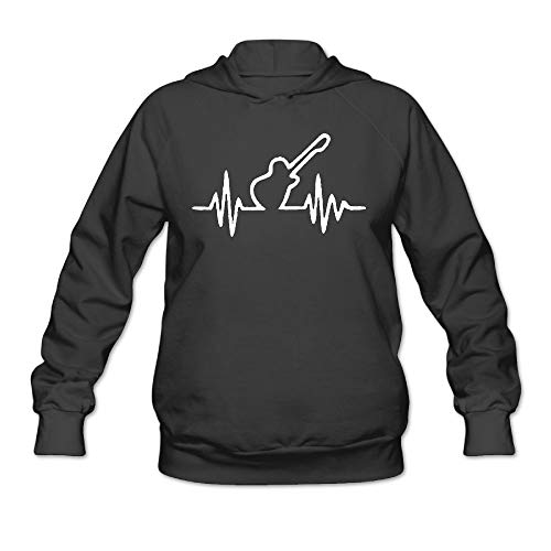 Women's Long Sleeve Pullover Sweatshirt Guitar Heart Beat Hoodie Without Pockets