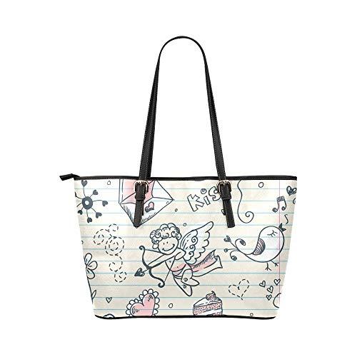 Flickiga handväskor tecknad söt färgglad cupid barn ängel läder handväskor väska orsaksala handväskor dragkedja axel organiserare för dam flickor kvinnor kontor handväska