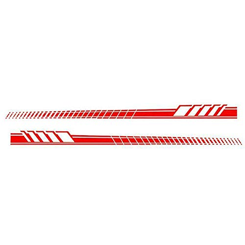 i-VIVIAN Universal Sports Racing Stripe Graphic Stickers and Decals for Truck Auto Car Body Side Door (Red-2) ()