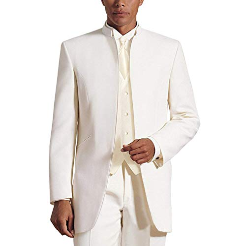 YBang Men's 3 Pieces Suit Blazer Single Breasted Classic Wedding Suit(Ivory,36R)