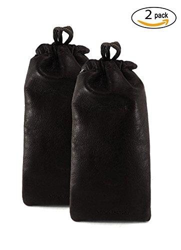 Chalk Factory Lambskin Leather Drawstrings Pouch Black, 9 cm X 15 cm