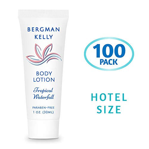 BERGMAN KELLY Travel Size Lotion (1 Fl Oz, 100 PK, Tropical Waterfall), Delight Your Guests with a Invigorating and Refreshing Body Lotion, Quality Mini and Small Size Guest Hotel Toiletries in Bulk ()