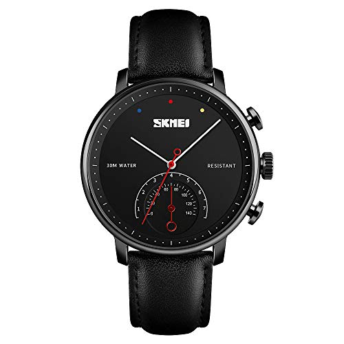 SKMEI Men's Quartz Watch, Roman Numeral Business Classic Casual Waterproof Analog Wristwatch with Leather Band Large Face Watches for Men