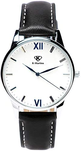 K-Martins Mens Wrist Watch -Quartz Analog Roman Numeral with Classic Brown Leather – Waterproof 10 Years Batteries – Fashion Casual Unique Dress – Business Office Work School Watches